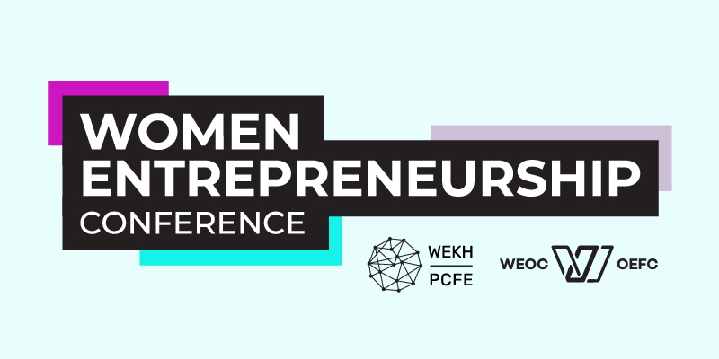The 2021 Women Entrepreneurship Conference logo on a pale blue background, also featuring the WEKH and WEOC logos.
