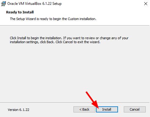 VirtualBox installation - Ready to Install. Source: nudesystems.com
