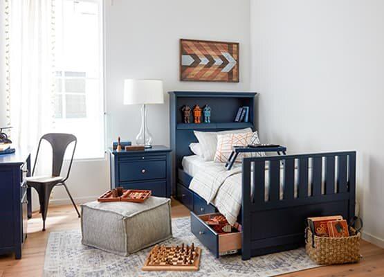 Dark Navy Furniture Bedroom Design