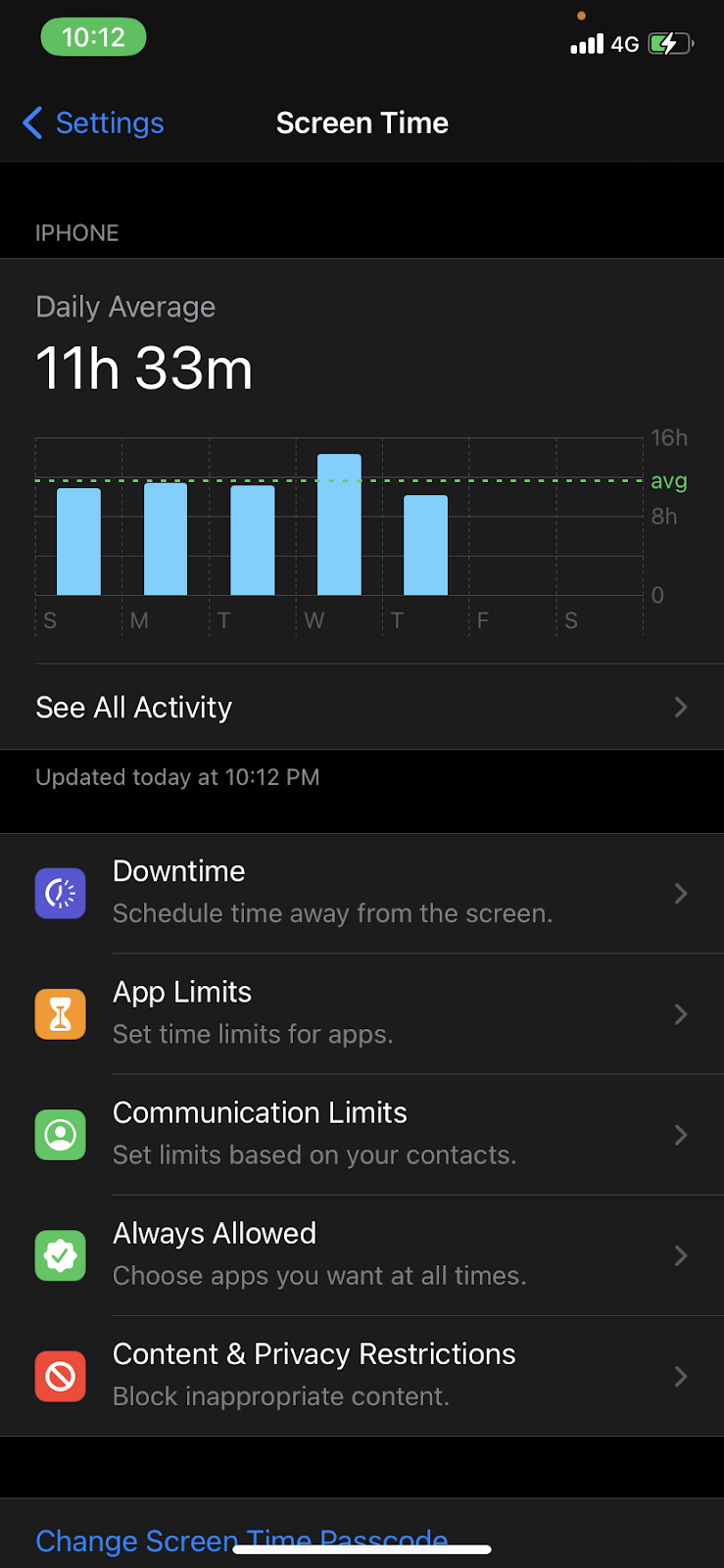 The Content & Privacy Restrictions option in the Screen Time Page