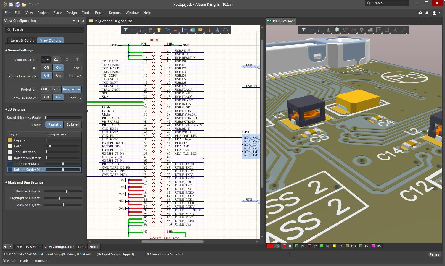 Screenshot of AD18 3D layout and schematic in PCB layout software