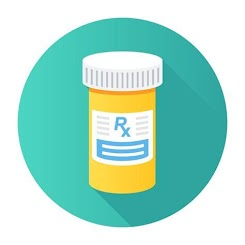 """[Image is an orange pill bottle with a white lid and a sticker that says """"Rx"""" in blue, illustrated to look as if there are more lines of text. The background is a teal circle.]"""