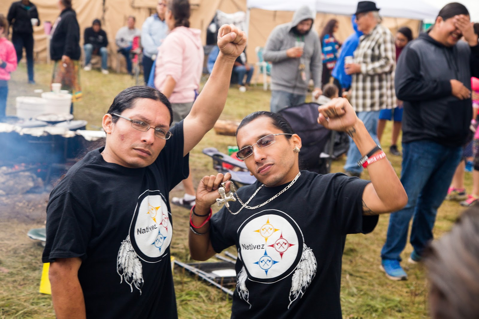 Native rappers Lil Mike and Funny Bone were on hand to lend to support to the cause. (Photo: Alex Hamer)