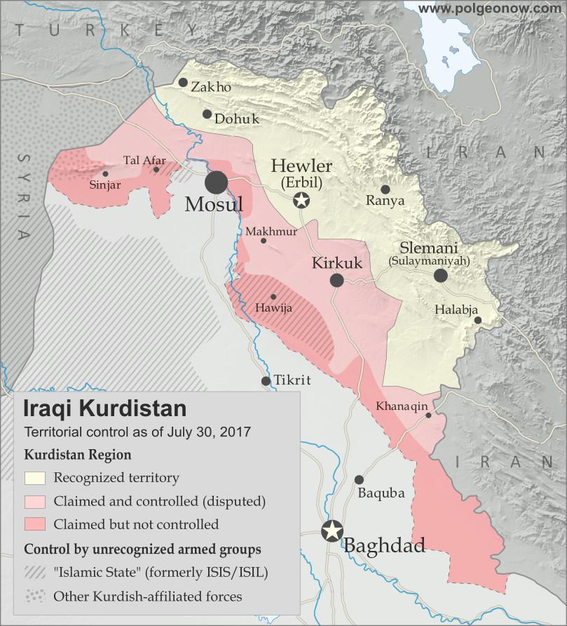 iraqi kurdistan map 2017 disputed territories control