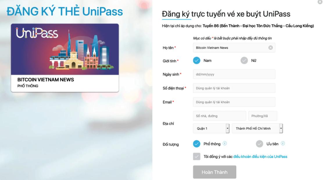 Đăng ký trên website unipass.vn