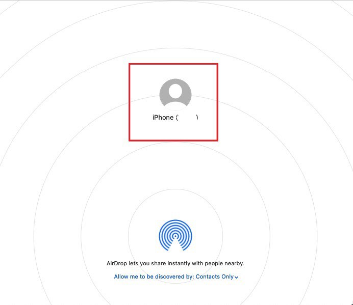 People to whom you can currently send files via Airdrop