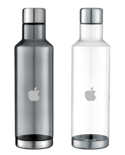 Water bottles emblazoned with Apple's corporate logo.