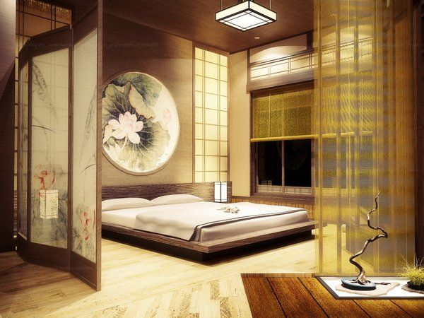 Bedroom furnishing: a round lotus artwork and a lotus room divider