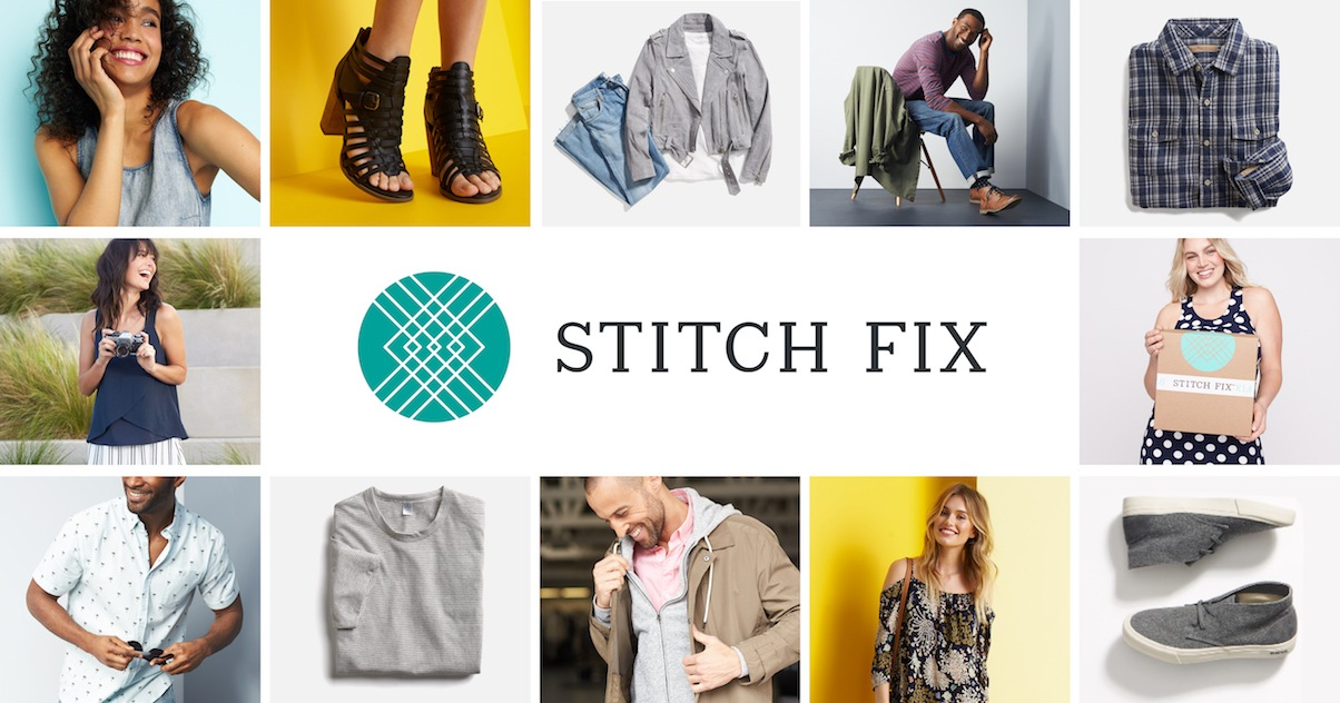 Grid of people and clothing items arranged around the Stitch Fix logo