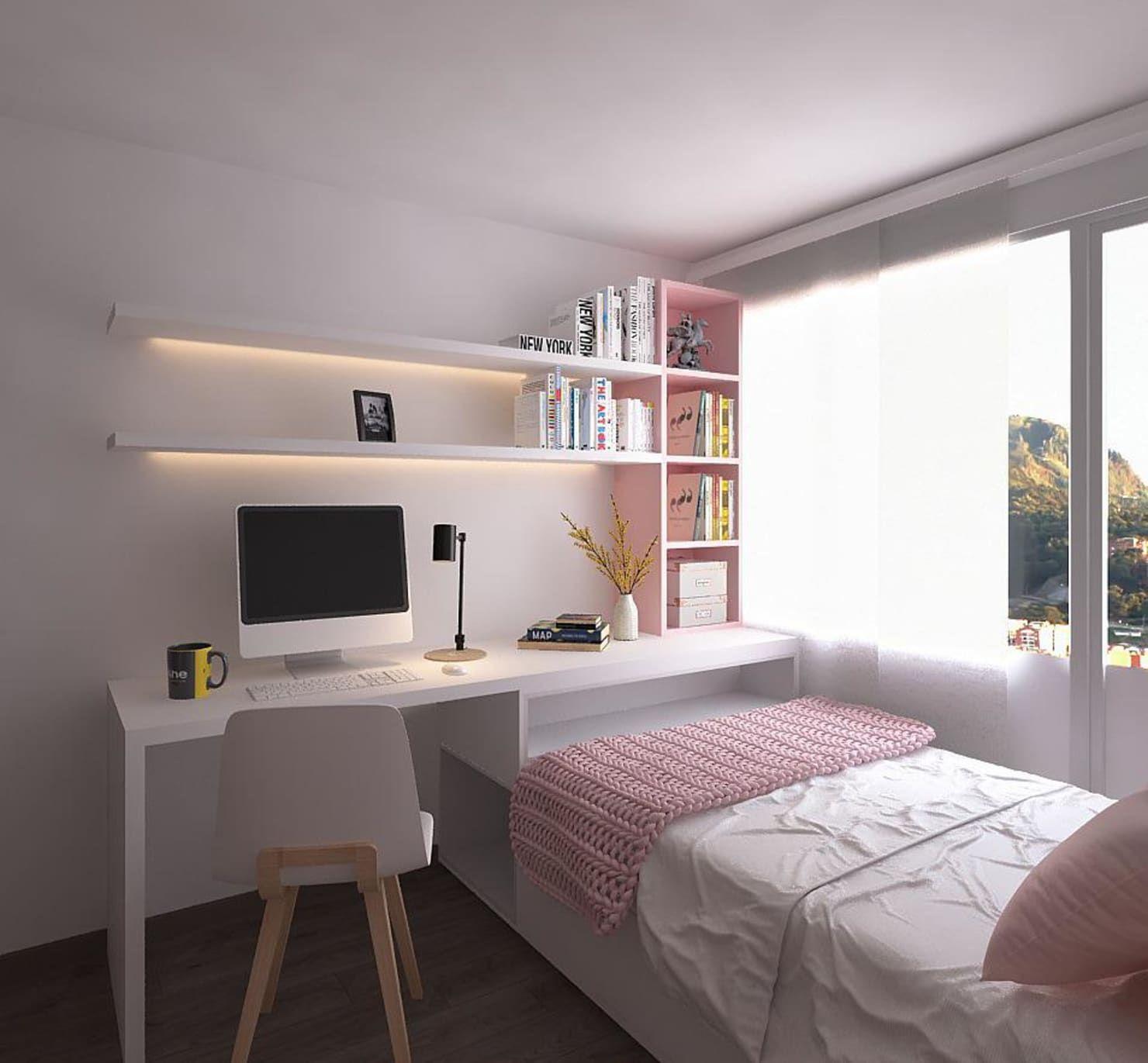 Nội thất phòng ngủ nhỏ màu hồng cho trẻ em