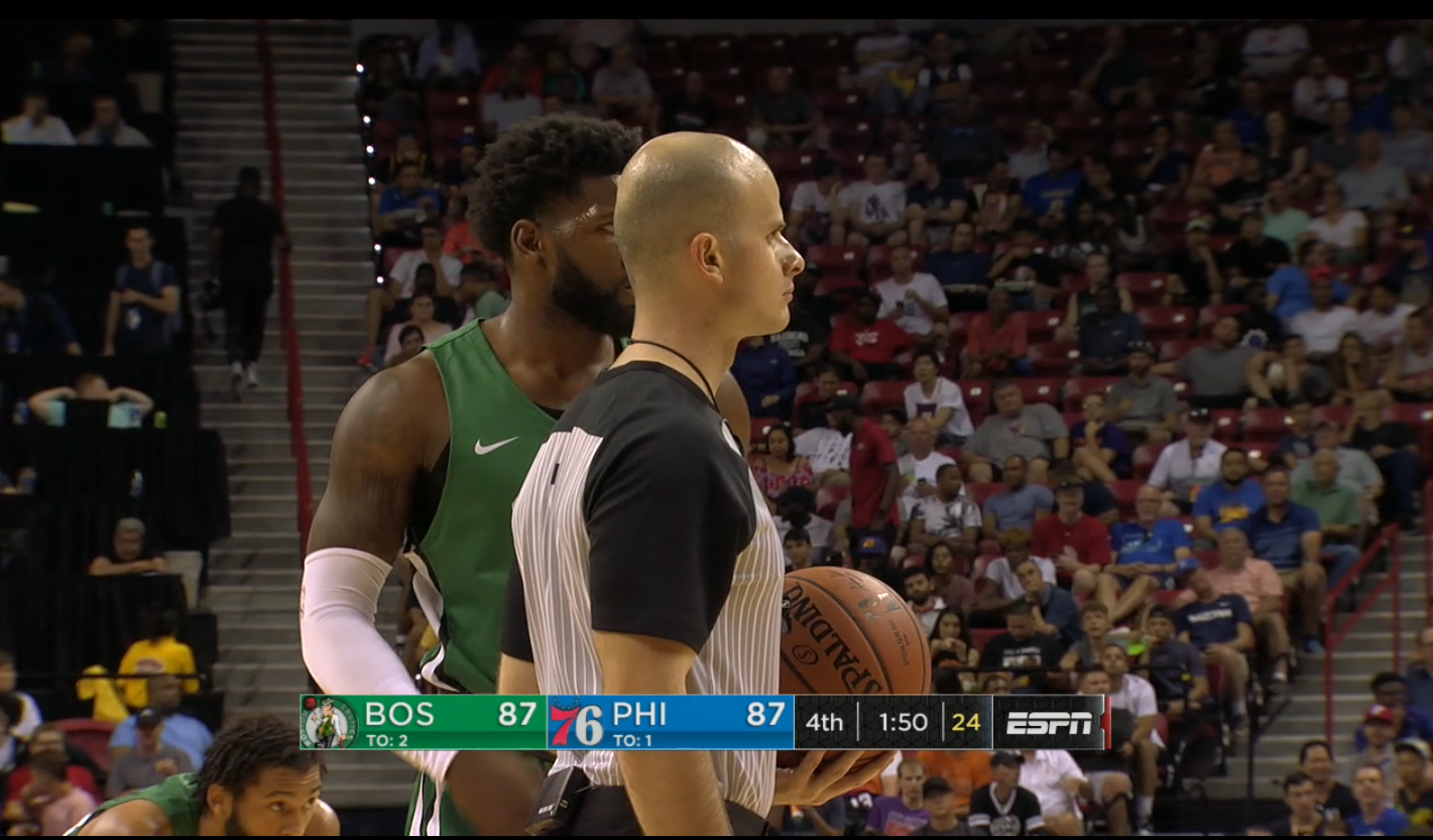 Abazi officiating an NBA Summer League game, Boston Celtics vs. Philadelphia 76ers