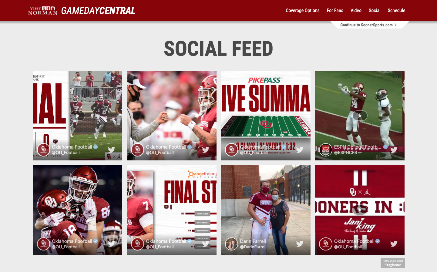 Oklahoma Sooners Game Day Central Social Feed