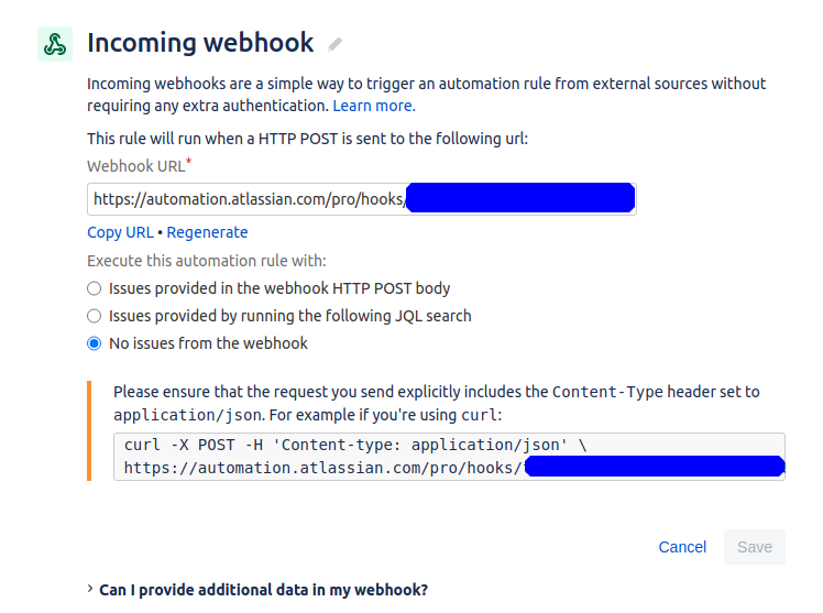 Jira's automation interface showing the next webhook page with the default selections