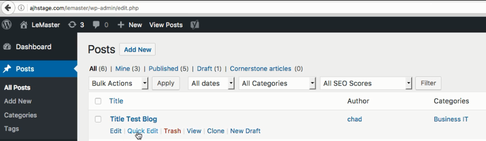 Wordpress Quick Edit