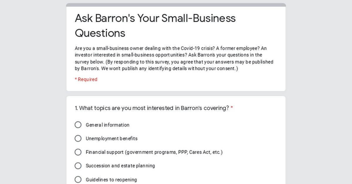Ask Barron's Your Small-Business Questions