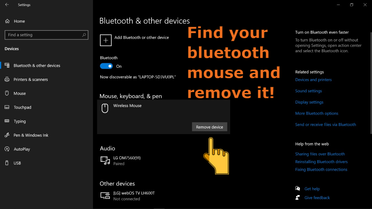 Once you open the Bluetooth settings, remove your Bluetooth mouse from the paired devices.
