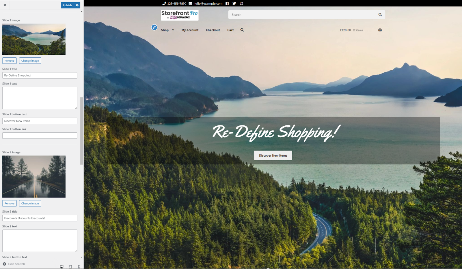 Setting a header type with Storefront Pro