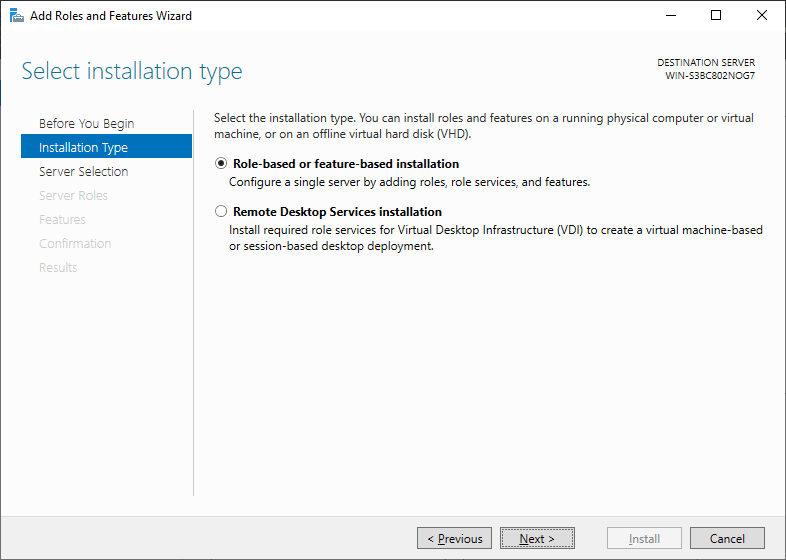 Select Installation Type Windows Server 2019