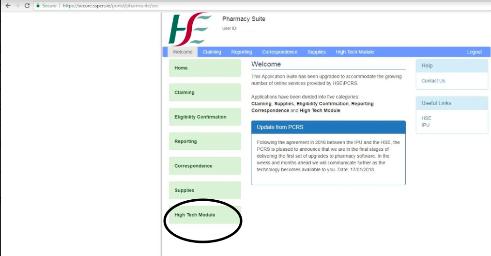 Then you will arrive at the Pharmacy Application Suite, Select the High Tech Module Link