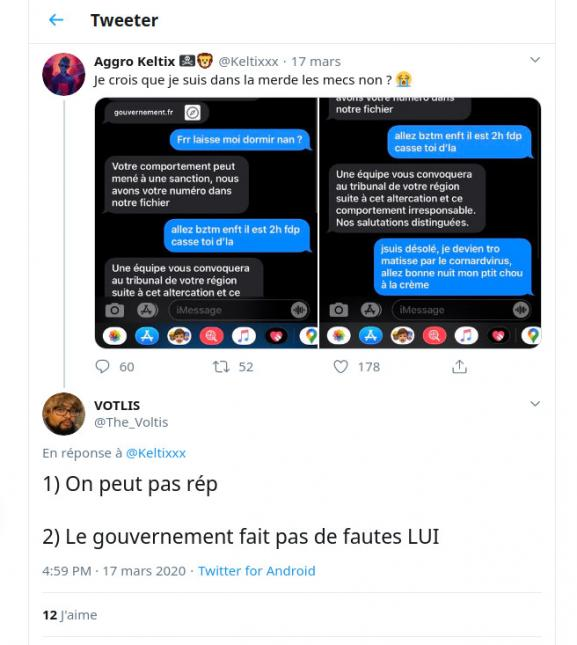 Réponse à un tweet à propos du SMS d'alerte du gouvernement sur le COVID-19