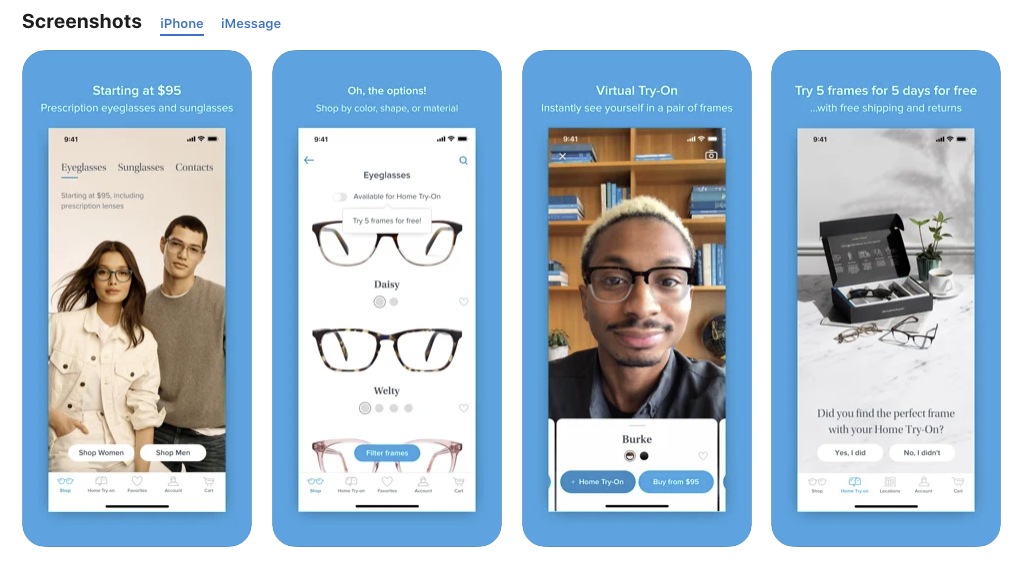 Screenshot of Warby Parker enabling customers to try frames virtually