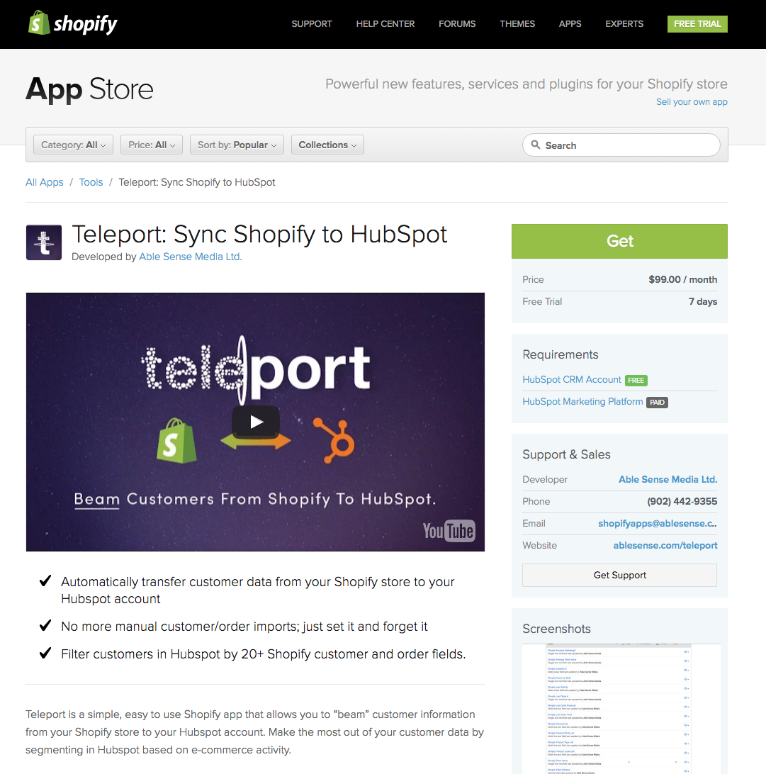 teleport shopify app integration from able sense media