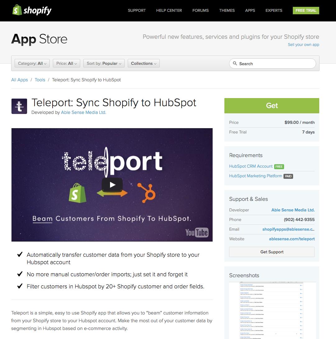 teleport shopify app integration from able sense media