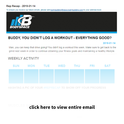 Drip email marketing example Bodyspace