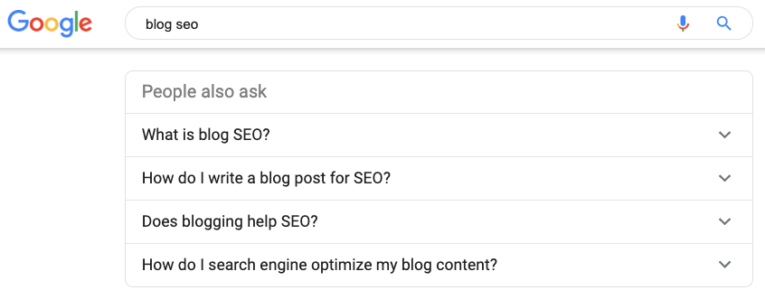 People ask section example on Google