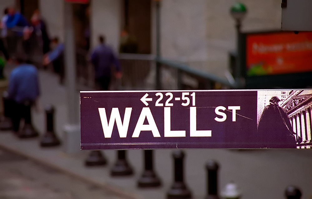 Sign of Wall street in New York