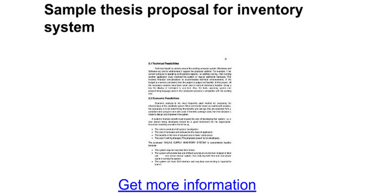 thesis proposal for inventory system Inventory management system's central asset repository of information overview of an integrated inventory management system inventory management process flow.