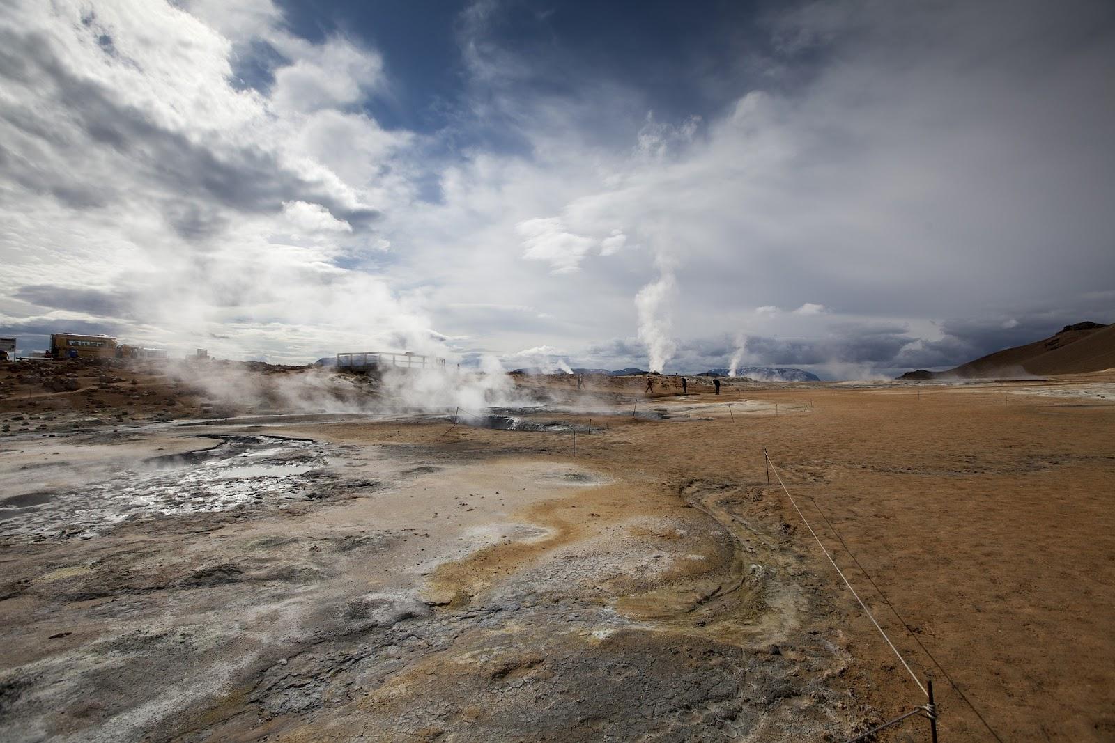 hverir geothermal site evaporating from geysers in iceland