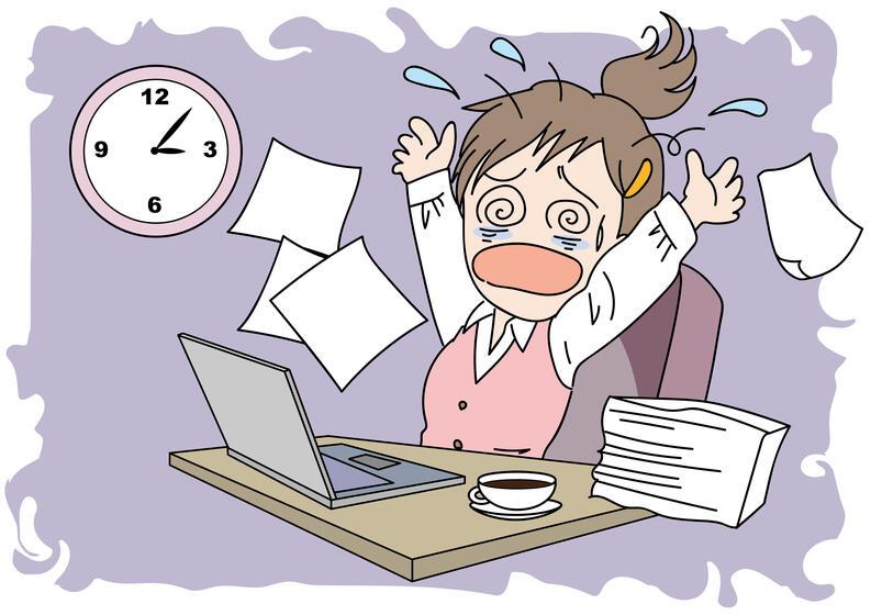 mujer panico estres computadora laptop ilustracion