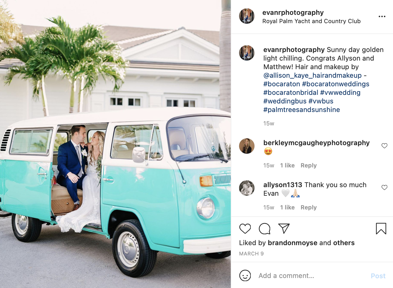 a bride and groom in a blue Volkswagen bus
