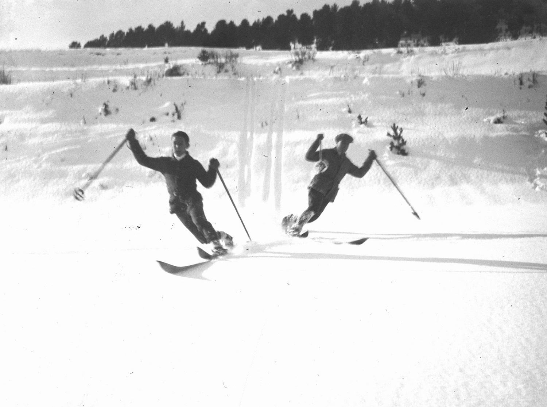 Esquiadores en La Molina en los años 40