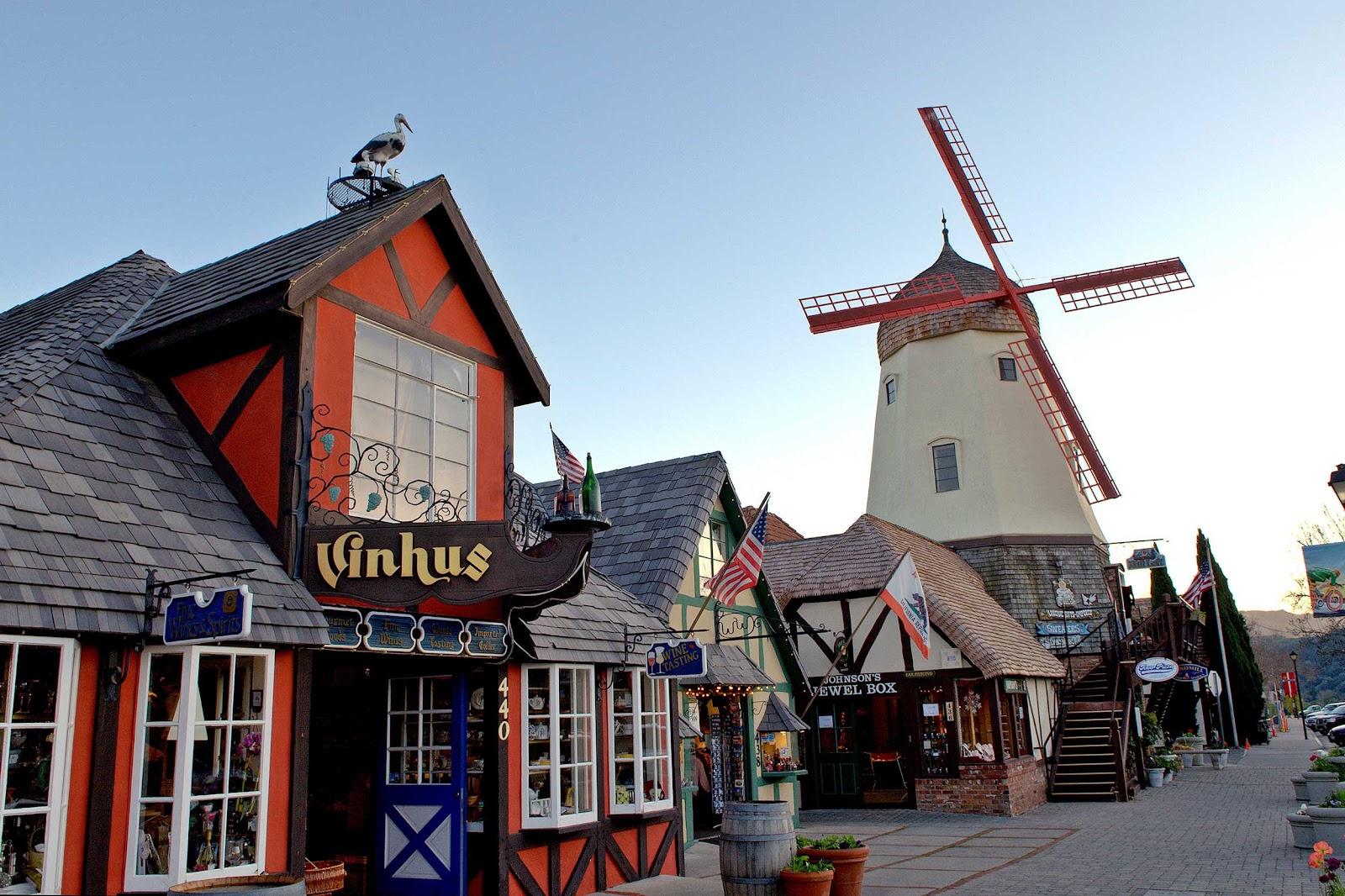 Windmill and shops at Solvang, CA