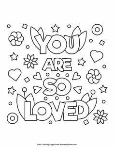 A love valentine coloring page