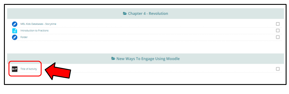 Shows an image of what the added content will look like on a course page (where the user will need to click in order to access the collage)