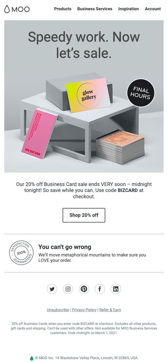 Moo Email newsletter design