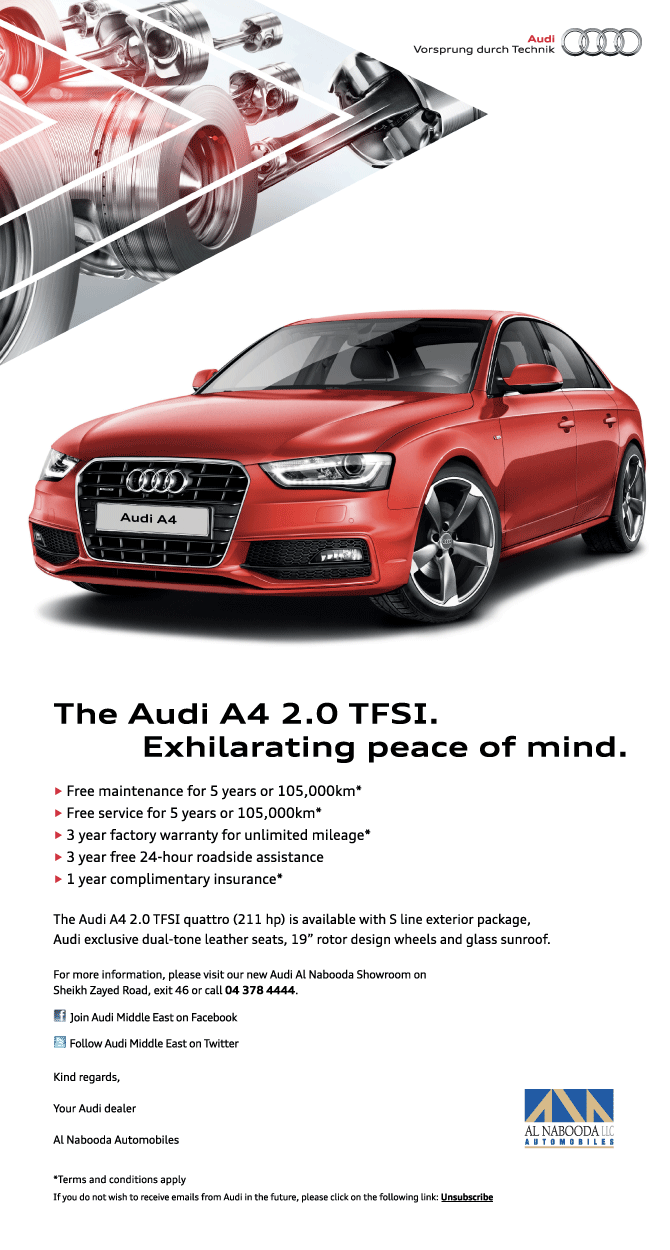 Audi promotion email
