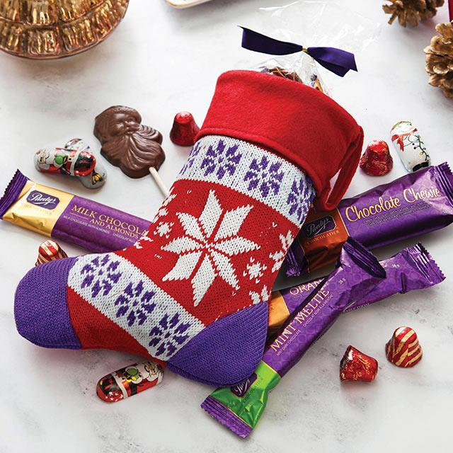 A stocking filled with chocolates