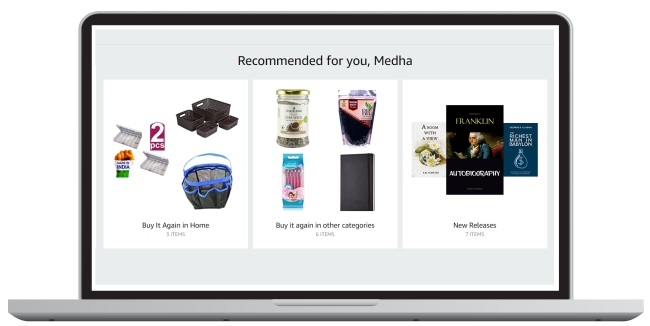 virtual storefront with cross-category recommendations.