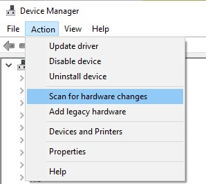 Scan for Hardware changes option in Action menu
