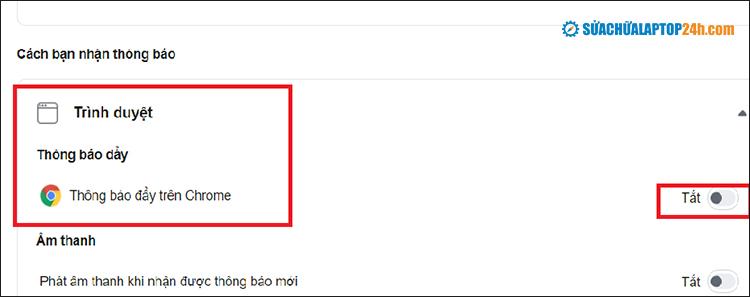 Chuyển qua chế độ tắt tại phần thông báo đẩy trên Chrome