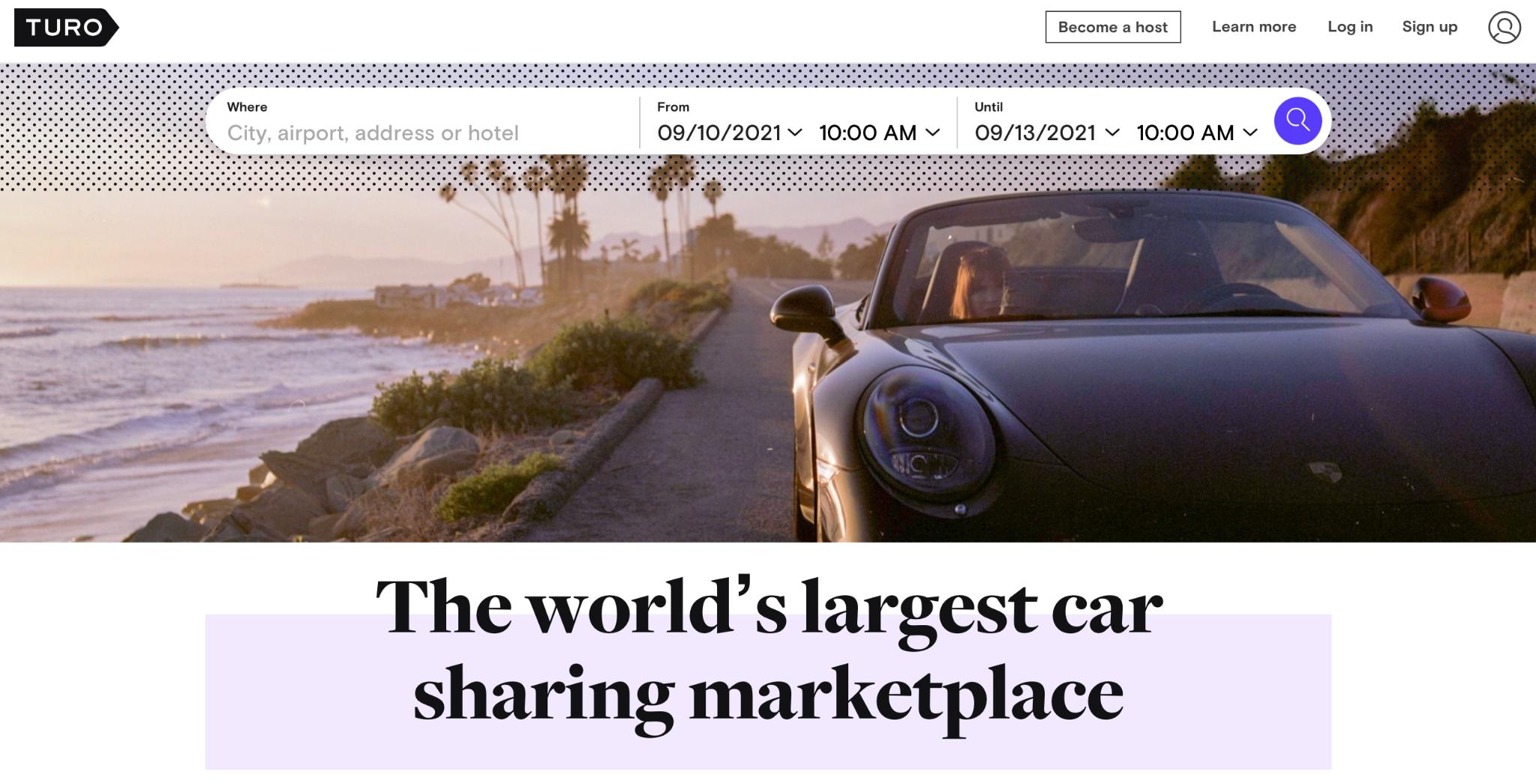 Turo for car-sharing wedding car
