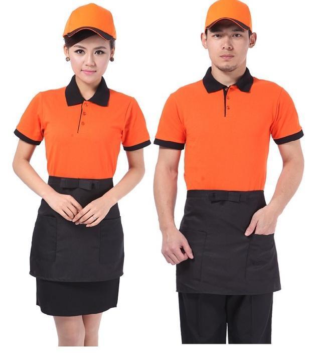 mẫu áo thun đồng phục nhân viên cafe giá rẻ màu cam