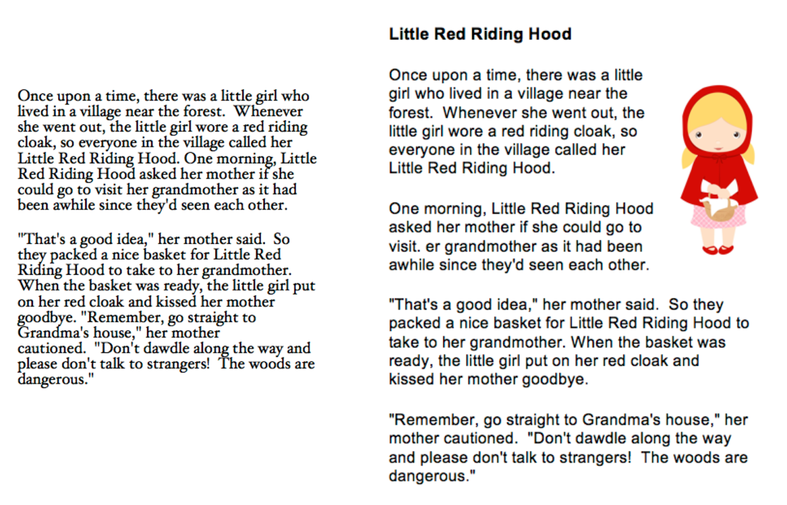 Little Red Riding Hood example