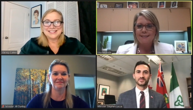 A screenshot of Wendy Cukier, Lisa McBride, Minister Jill Dunlop, and Minister Stephen Lecce smiling during the webinar