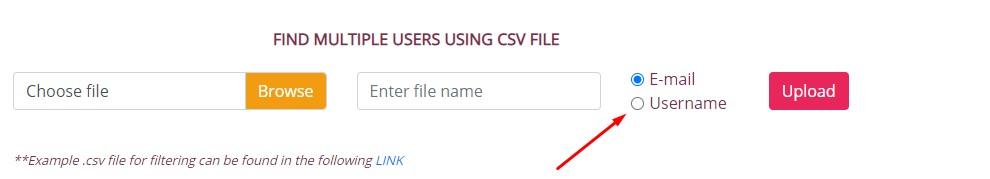 "To do a search based on username select ""username""."