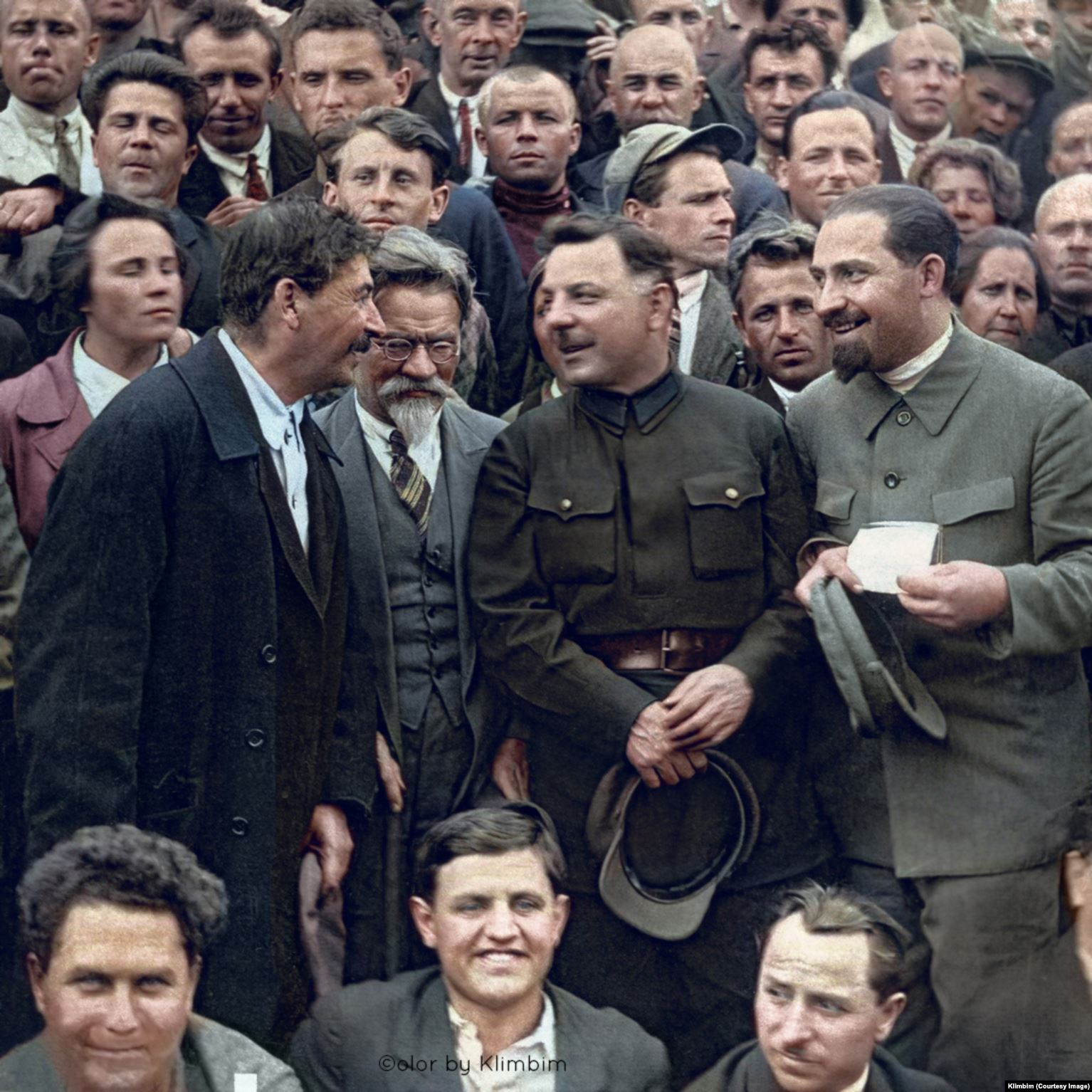 Soviet leaders Josef Stalin, Mikhail Kalinin (wearing glasses), Kliment Voroshilov and Lazar Kaganovich (standing, left to right) in 1930. Among other acts of political terror, all four men were behind the 1940 execution of some 22,000 of Poland's top military officers, policemen, and academics seen as likely to resist Soviet communist rule in the Katyn massacre. Shirnina says this photo was also posted without problem on Facebook and Instagram.